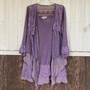 Pretty Angel purple hobo blouse multi layers sz 1X